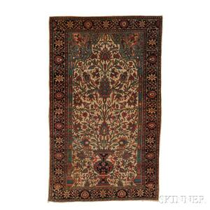 Antique Fereghan Sarouk Prayer Rug
