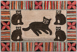 Large Cats Hooked Rug