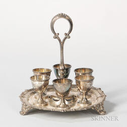 Victorian Sterling Silver Egg Stand with Six Egg Cups