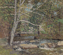 Joseph Eliot Enneking (American, 1881-1942)      Rocks by the Brook