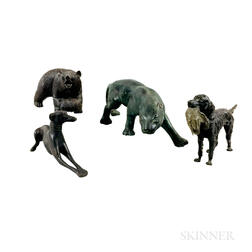 Three Bronze Animals and a Black Forest Carved Bear