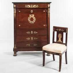 Empire-style Mahogany, Mahogany-veneered, and Ormolu-mounted Secretaire a Abattant and a Matching Side Chair