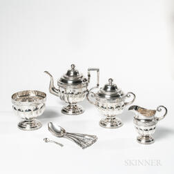 Four-piece Coin Silver Tea Set and Seven Spoons