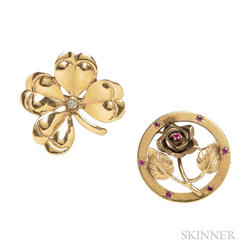 Two Retro 14kt Gold Brooches