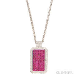 18kt White Gold, Ruby, and Diamond Pendant
