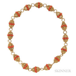 18kt Gold and Coral Necklace