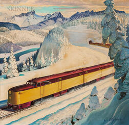 John Clymer (American, 1907-1989), American Locomotive Diesel-Electric Train/Illustration for an Advertisement for The Saturday Evening