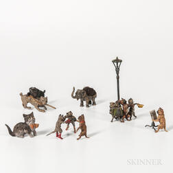 Six Assorted Cold Painted Bronze Animals