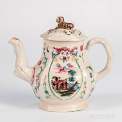 Staffordshire White Salt-glazed Stoneware Teapot and Cover