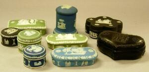 Eight Assorted Wedgwood Jasper Covered Boxes and a Black Basalt Covered Box.