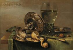 Willem Claesz Heda (Dutch, 1594-c. 1680)      Still Life with Tazza, Peeled Lemon, and Roemer