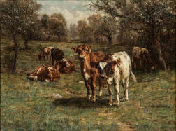 Charles Franklin Pierce (American, 1844-1920)      Cows at Pasture