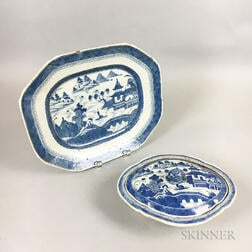 Canton Porcelain Covered Vegetable Dish and Platter