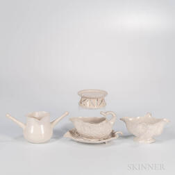 Three Staffordshire White Salt-glazed Stoneware Table Items