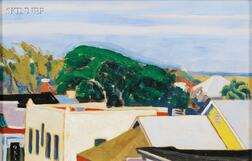 Ross E. Moffett (American, 1888-1971)      Rooftops, St. Augustine Florida