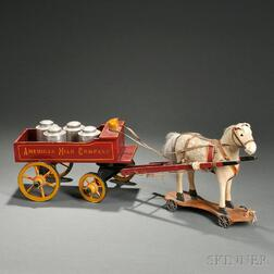 Painted Wood and Cloth American Milk Company Toy Delivery Wagon