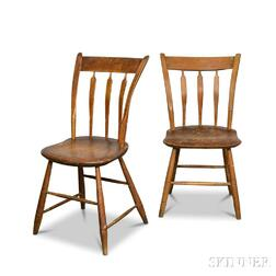 Two Maple Arrow-back Windsor Side Chairs