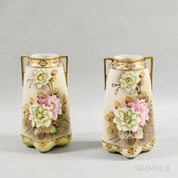 Pair of Nippon Hand-painted Vases