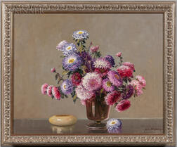 A.D. Greer (American, 1904-1998)      Still Life with Pink and Purple Flowers
