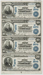 1902 The First National Bank of Chicago Date Back Uncut Sheet