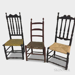 Two Black-painted Bannister-back Side Chairs and a Red-painted Ladder-back Side Chair.     Estimate $50-75