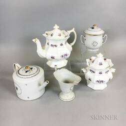 Three-piece Chinese Export Porcelain Tea Service and Two Chelsea Tea Wares