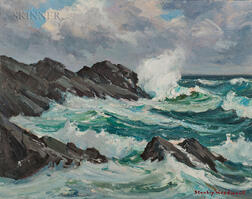 Stanley Wingate Woodward (American, 1890-1970)      Waves Breaking on Rocks