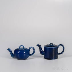 Two Staffordshire Salt-glazed Stoneware Littler's Blue Teapots and Covers