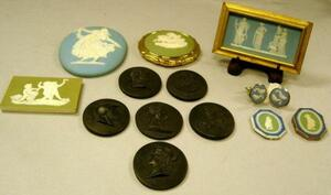 Fourteen Assorted Wedgwood Medallions, Plaques, and Related Items