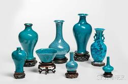 Eight Turquoise Blue- and Robin's Egg-glazed Ceramic Items