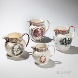 Four Wedgwood Transfer-printed Commemorative Jugs