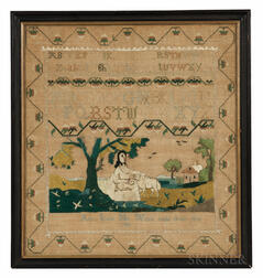 """Ann Jones"" Boston Pastoral School Needlework Sampler"