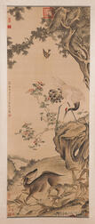 Hanging Scroll Depicting a Crane and Deer