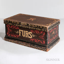"Victorian Paint-decorated and Cedar-lined ""FURS"" Trunk"