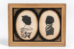 Double Hollow-cut Silhouette Portraits of a Husband and Wife