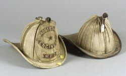Two White High Eagle Leather Firefighter's Helmets