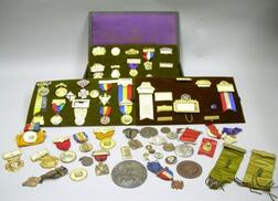 Collection of Approximately Fifty-nine Badges, Pins, and Medals
