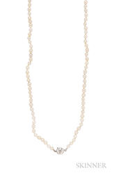 Art Deco Natural Pearl and Diamond Necklace
