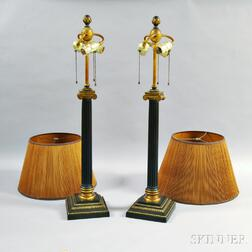 Pair of Empire-style Metal Lamps