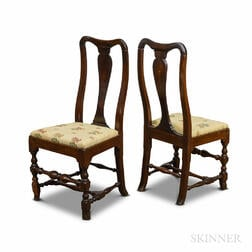 Pair of Queen Anne-style Stained Maple Side Chairs.     Estimate $300-500