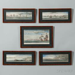 Five Hand-colored Framed Engravings from George Anson, Esq., A Voyage Round The World in the Years MDCXXL, I, II, III, IV