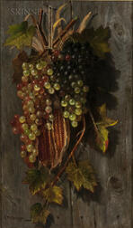Samuel W. Griggs (American, 1827-1898)      Grapes and Corn Husks Hanging Against a Wooden Wall