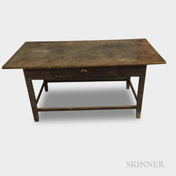 Early Pine Stretcher-base One-drawer Tavern Table