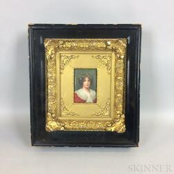 Framed Porcelain Portrait Plaque of a Woman in a Shadow Box