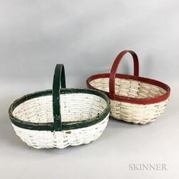 Two White-painted Woven Splint Handled Baskets