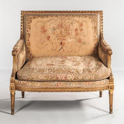 Louis XVI-style Giltwood and Tapestry-upholstered Canape