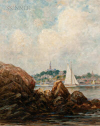 Hendricks A. Hallett (American, 1847-1921)      Sailboat in Cove