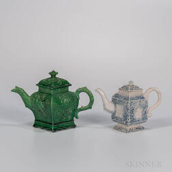 Two Staffordshire Diamond-shaped Teapots and Covers