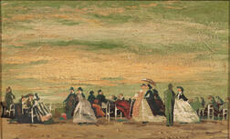 French/American School, 19th/20th Century    Elegant Figures on the Beach
