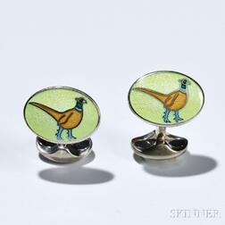 Pair of Sterling Silver and Enamel Cuff Links, Deakin & Francis